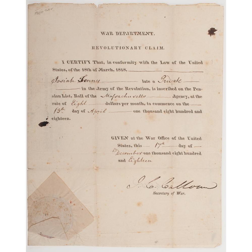 John C Calhoun Letter On Economics Signed Plus Ds