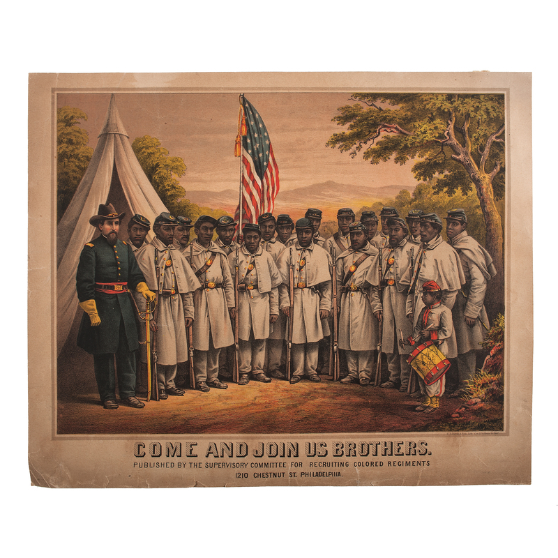 Come and Join Us Brothers Very Rare Civil War Colored Troops Recruitment Broadside