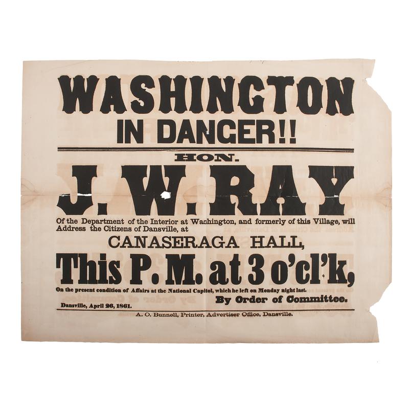 Washington in Danger!, Early Civil War Political Broadside, 1861