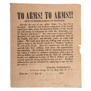 Early Confederate, North Carolina Recruitment Broadside, To Arms! Our Fatherland is in Danger!