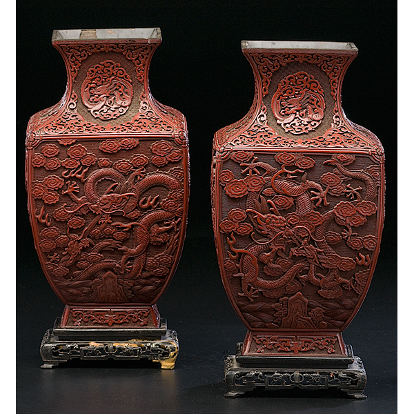 Chinese Cinnabar Vases Cowans Auction House The Midwests Most