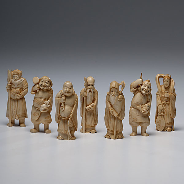 Chinese Ivory Carved Seven Lucky Gods Tap To Expand