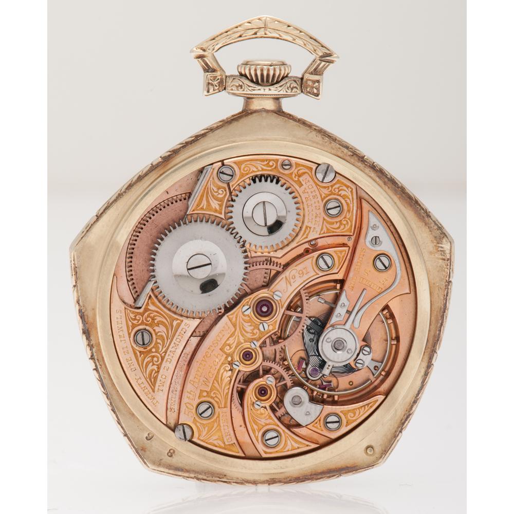 gruen fiftieth anniversary pocket watch in 14 karat yellow gold