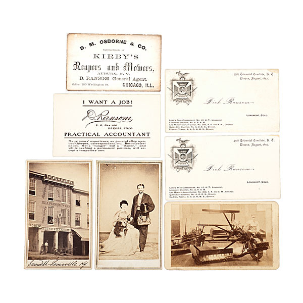 Reaper mower agent dick ransom business cards cdvs of his tap to expand reheart Image collections