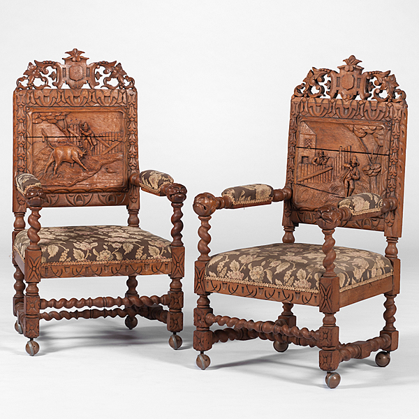 German Hand-Carved Dining Chairs. Tap to expand - German Hand-Carved Dining Chairs Cowan's Auction House: The