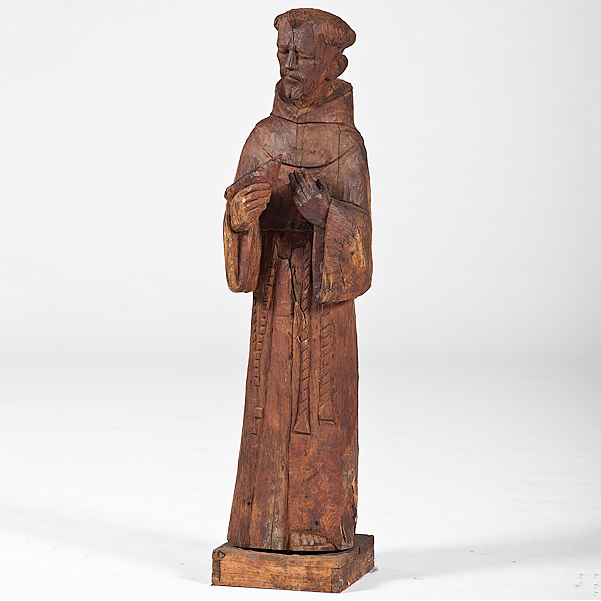 Carved Wooden Statue Of Saint Francis Cowans Auction House The