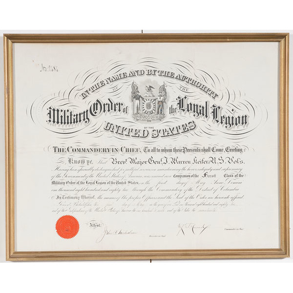 Post-Civil War Certificates, Including Military Order of the Loyal ...