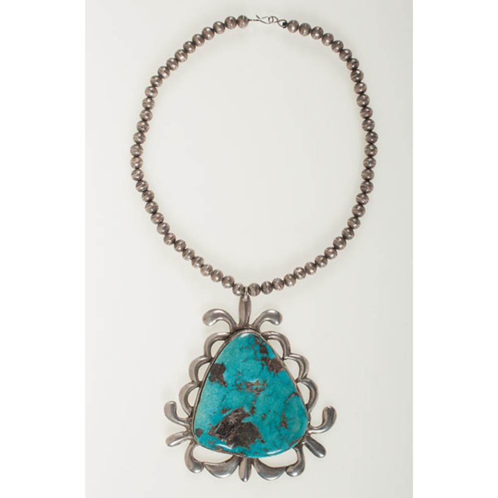 Zuni Silver And Turquoise Necklace From Asa Glascock