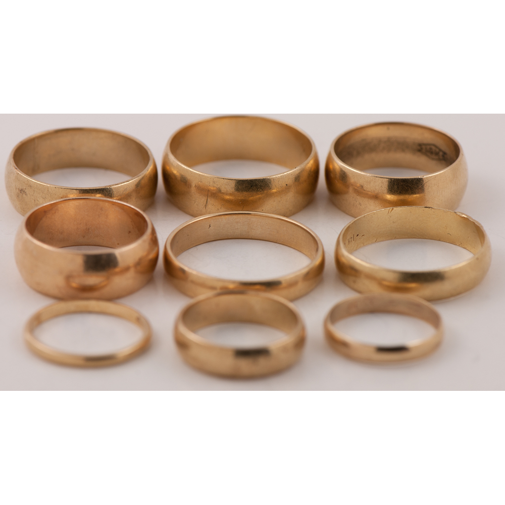 half wedding bands in 14 karat yellow gold cowan s