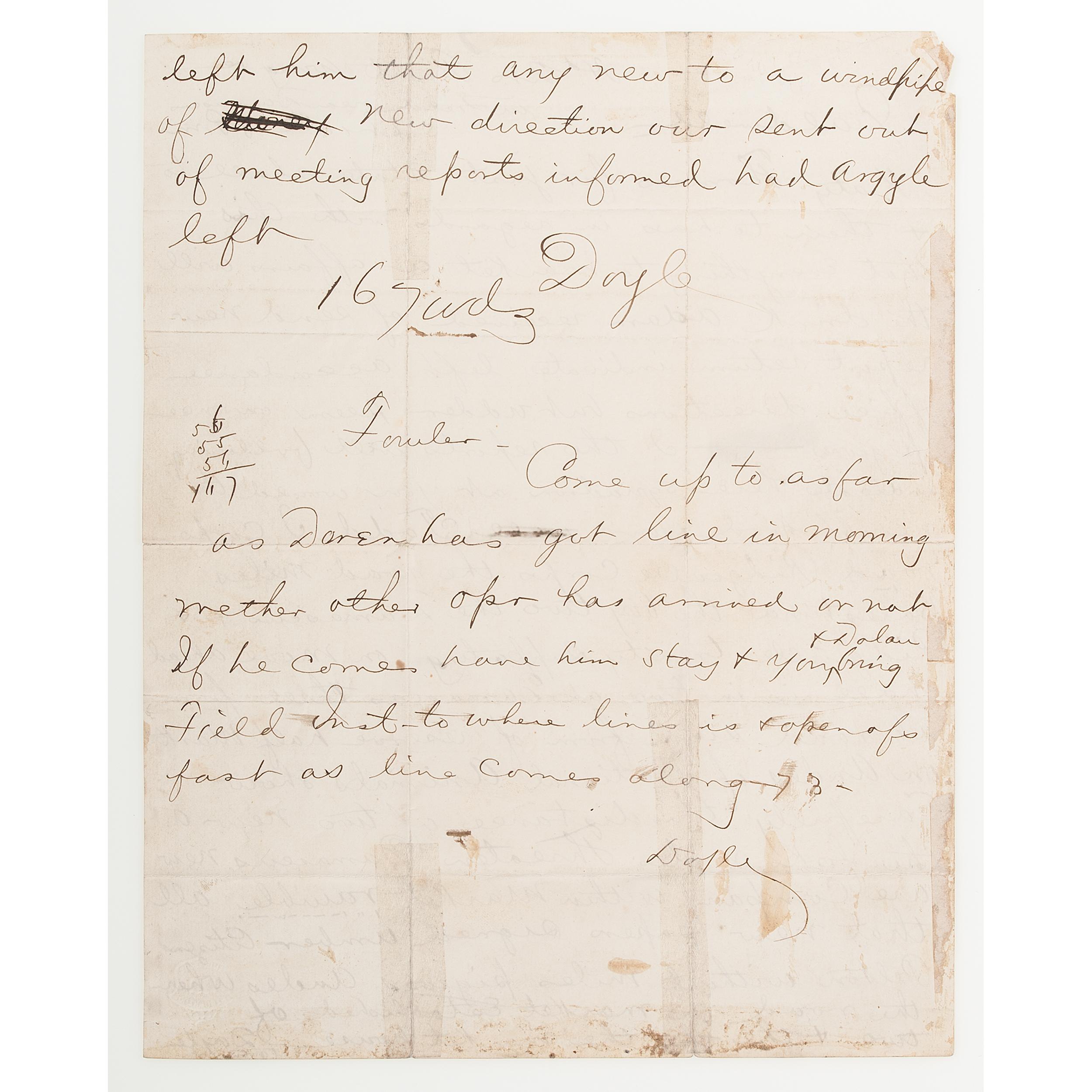 Ciphered Battlefield Communication Burnside To Mcclellan