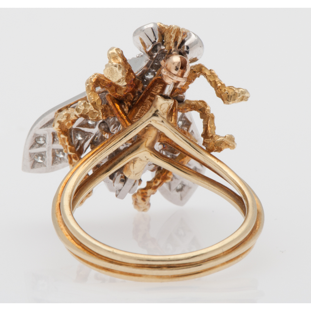Flaircraft 18 Karat Gold Bee Ring Brooch With Diamonds And