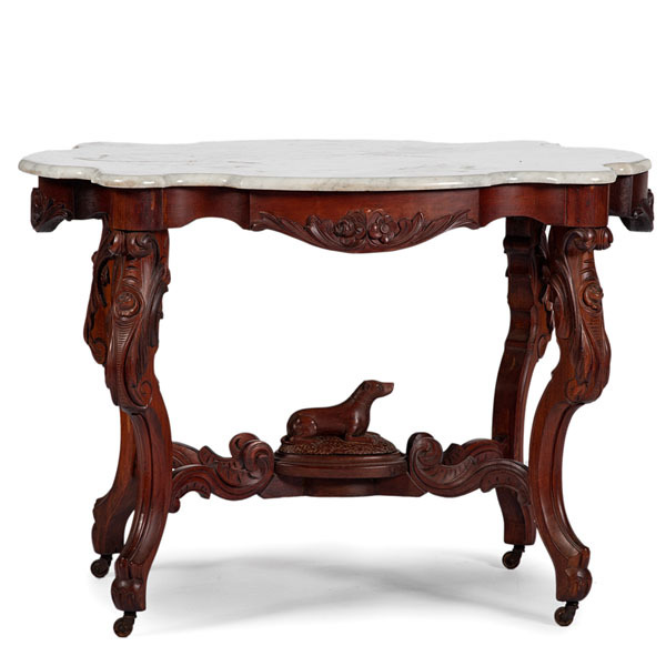 Victorian Marble Top Dog Table. Hover To Zoom