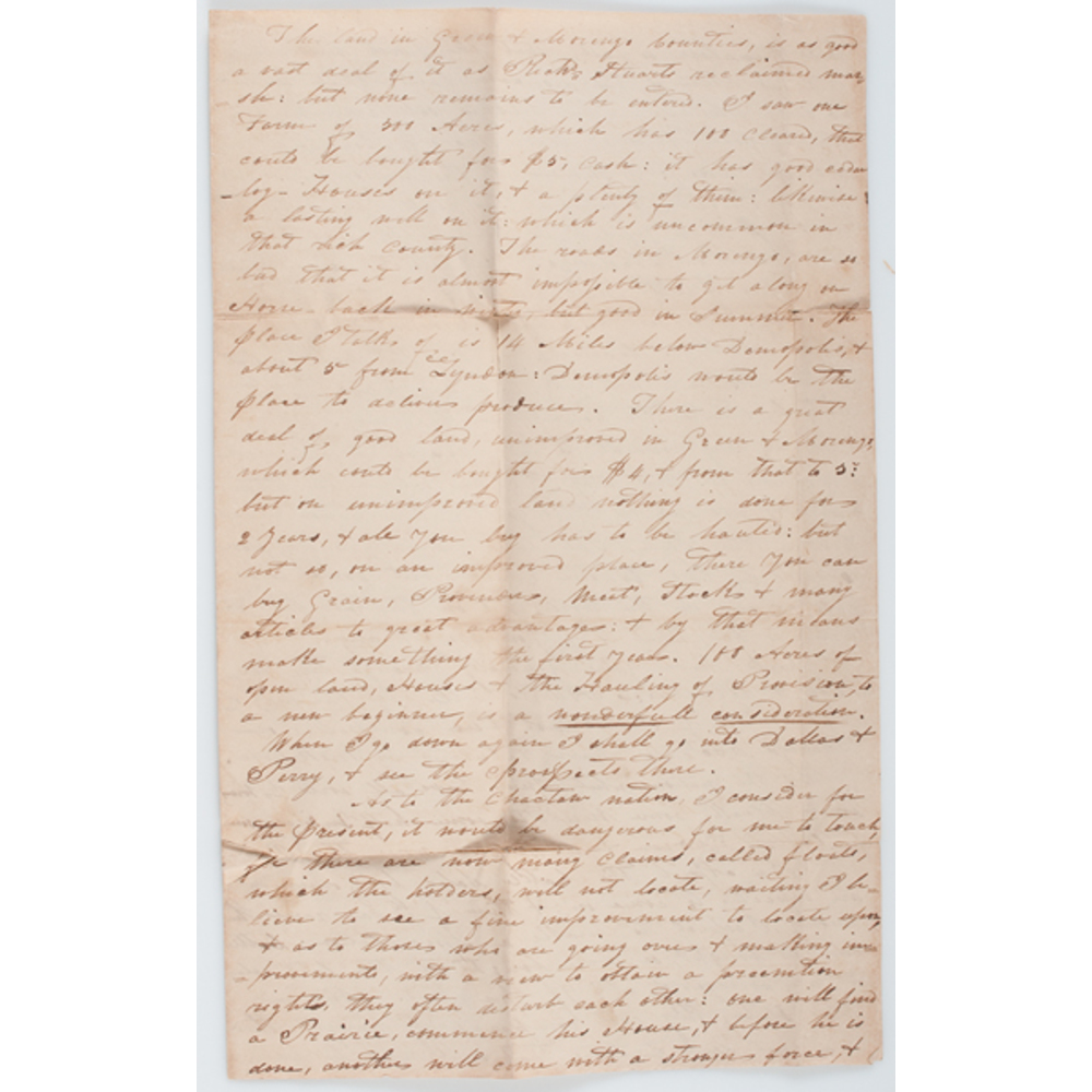 Letters Concerning Choctaw Removal and Lands, 1832 | Cowan's