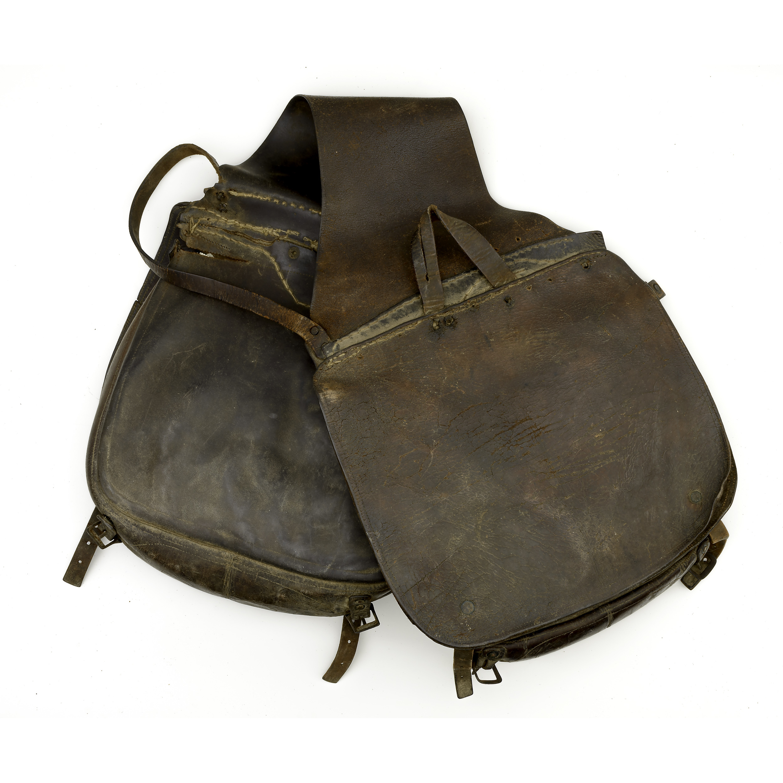 large leather saddle bags ca 1870 cowan s auction
