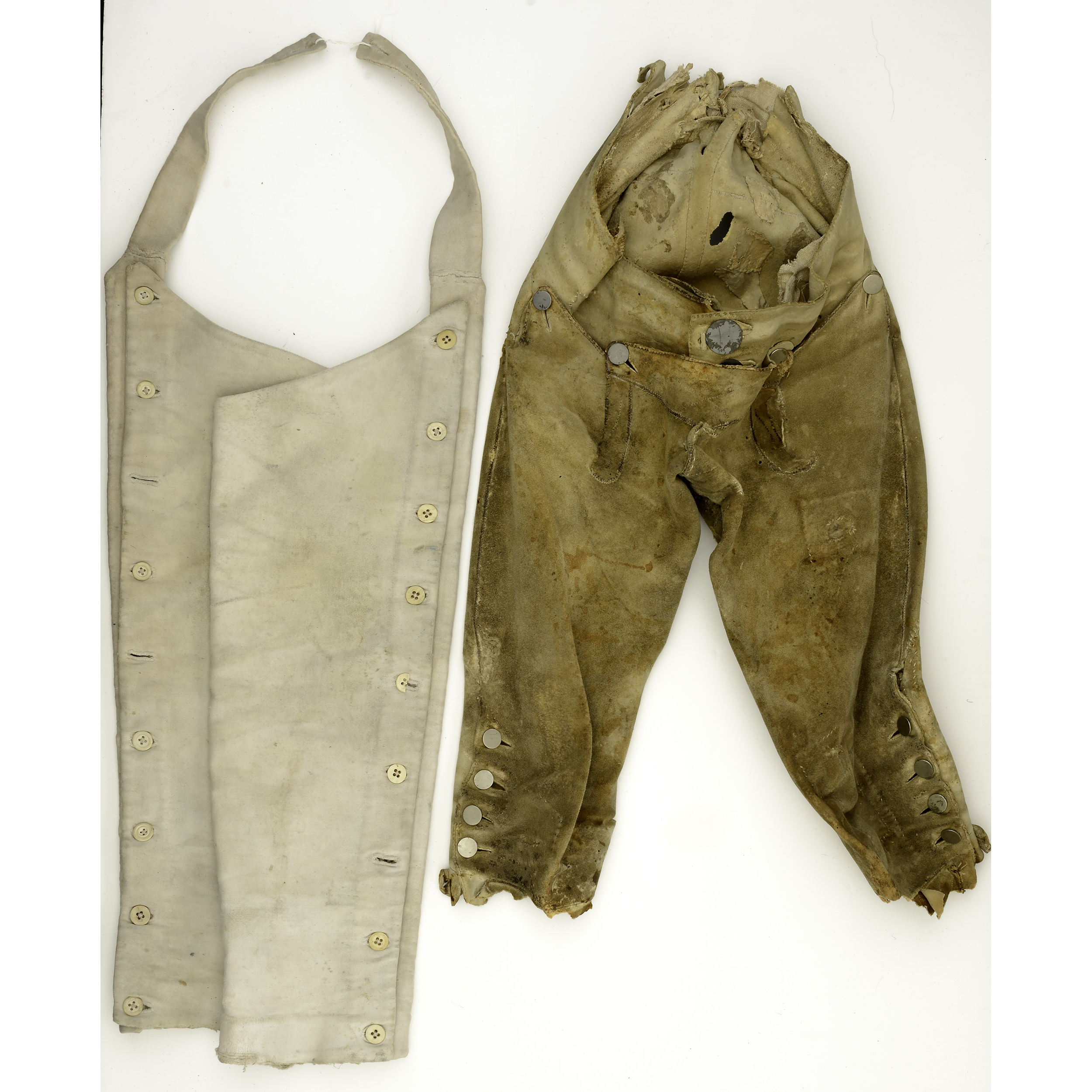 18th Early 19th Century Buckskin Breeches With Leggings
