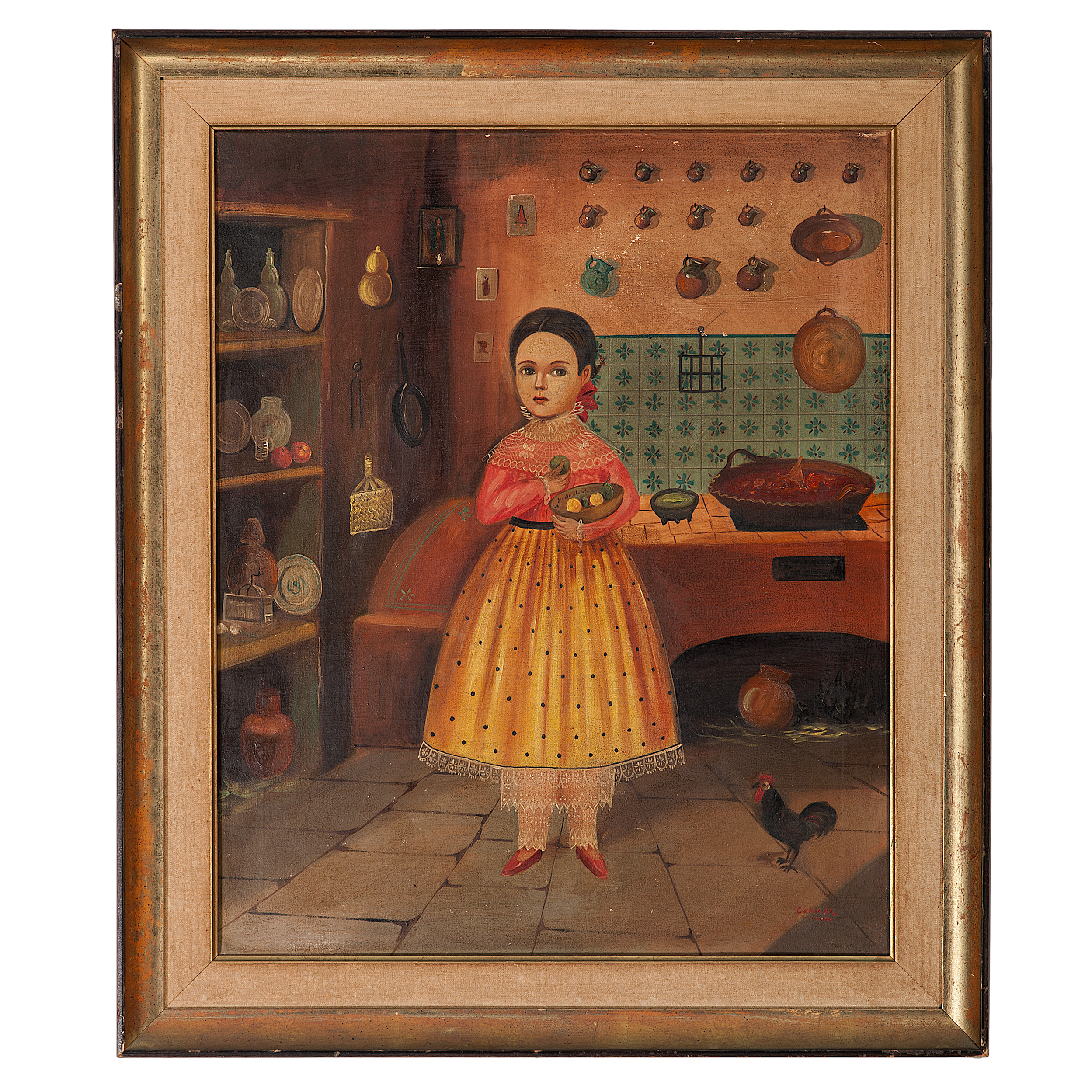 Kitchen Folk Art: Folk Art Portrait Of A Young Girl In Kitchen