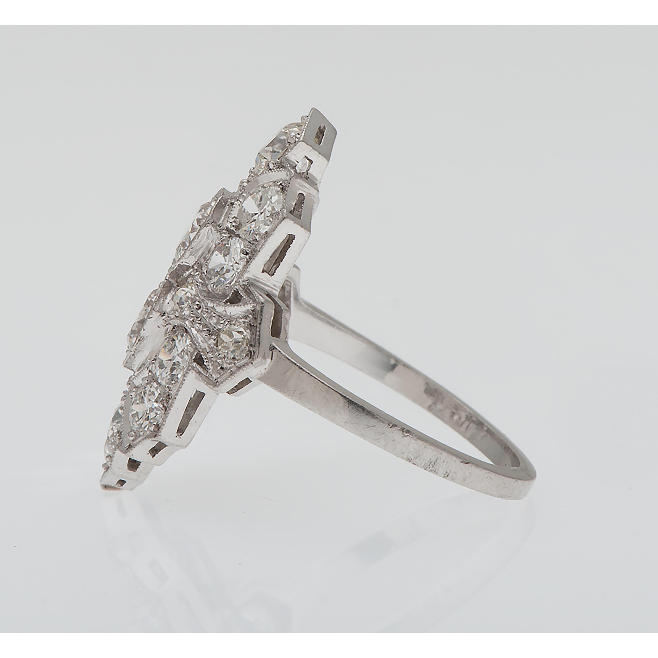 House Platinum: Diamond Filigree Ring In Platinum