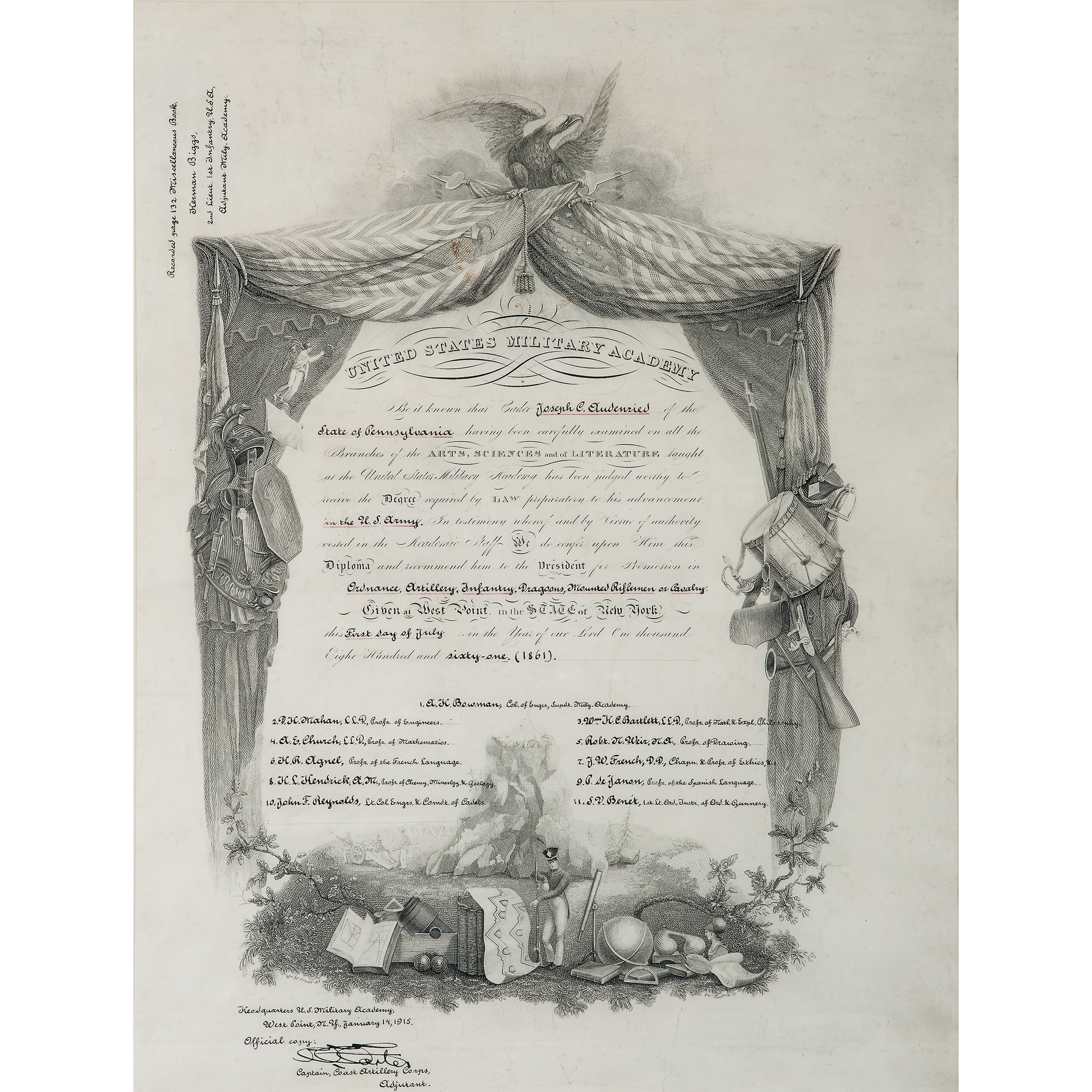 West Point Certificate Of Graduation For Joseph C Audenried Plus