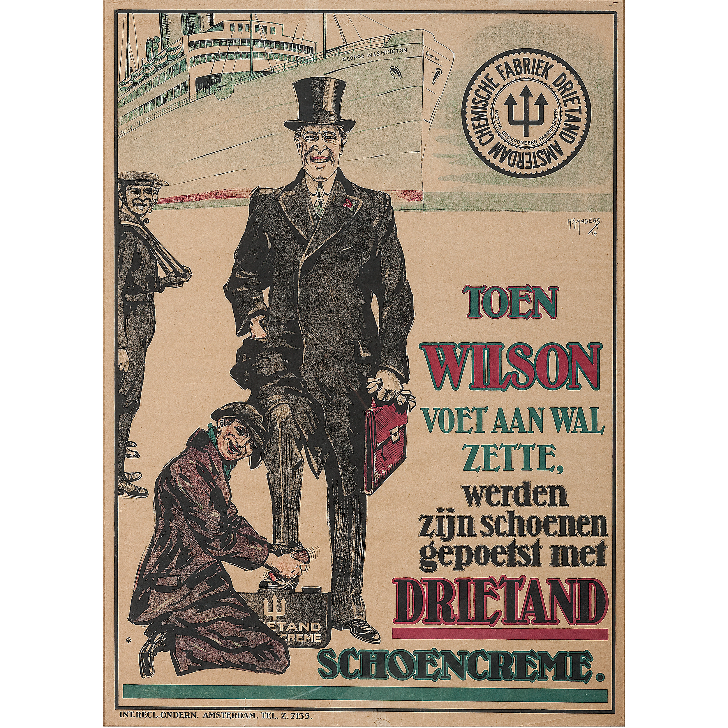 Rare Dutch Woodrow Wilson 1919 League of Nations ...
