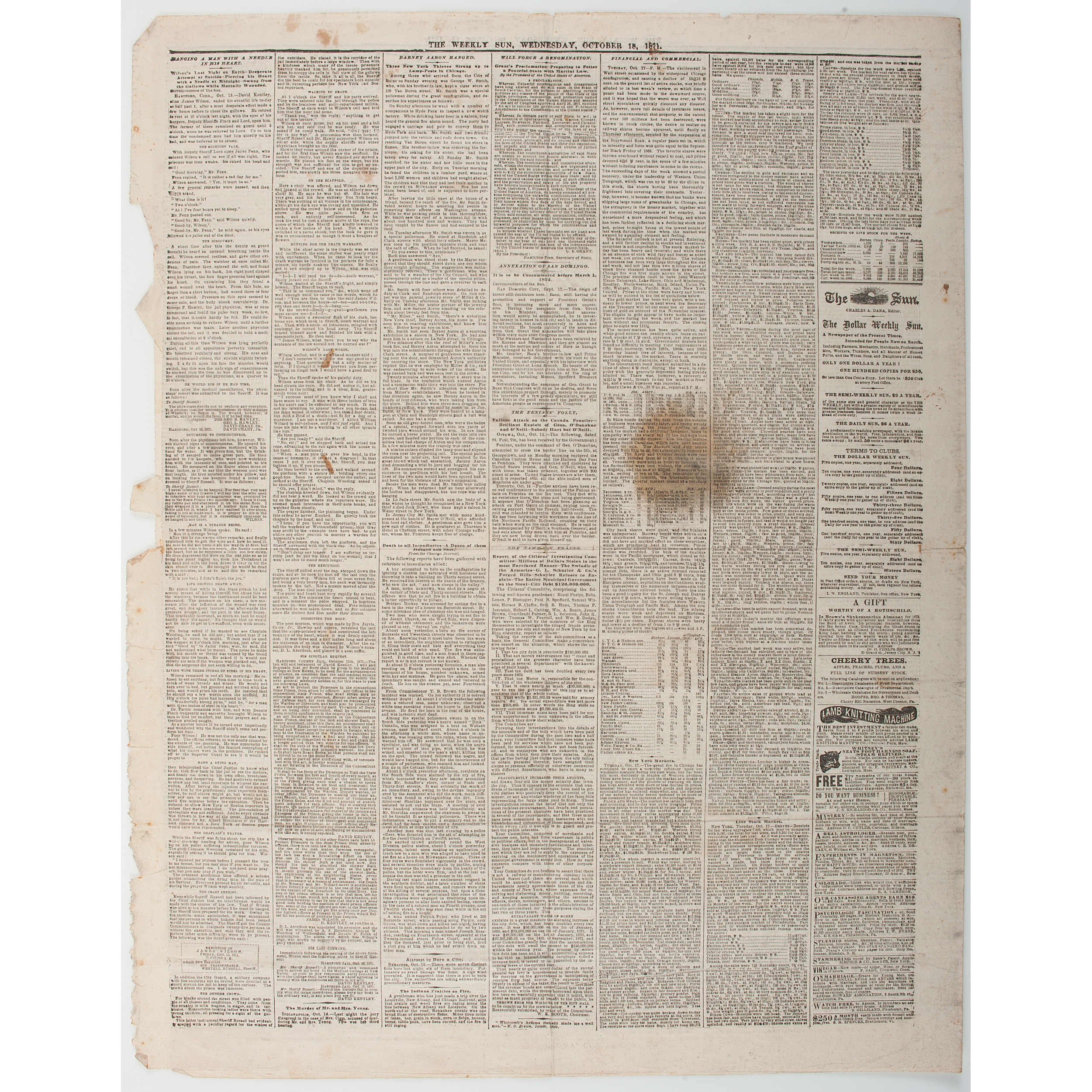 The Great Chicago Fire of 1871, Newspaper Account Including Accurate on