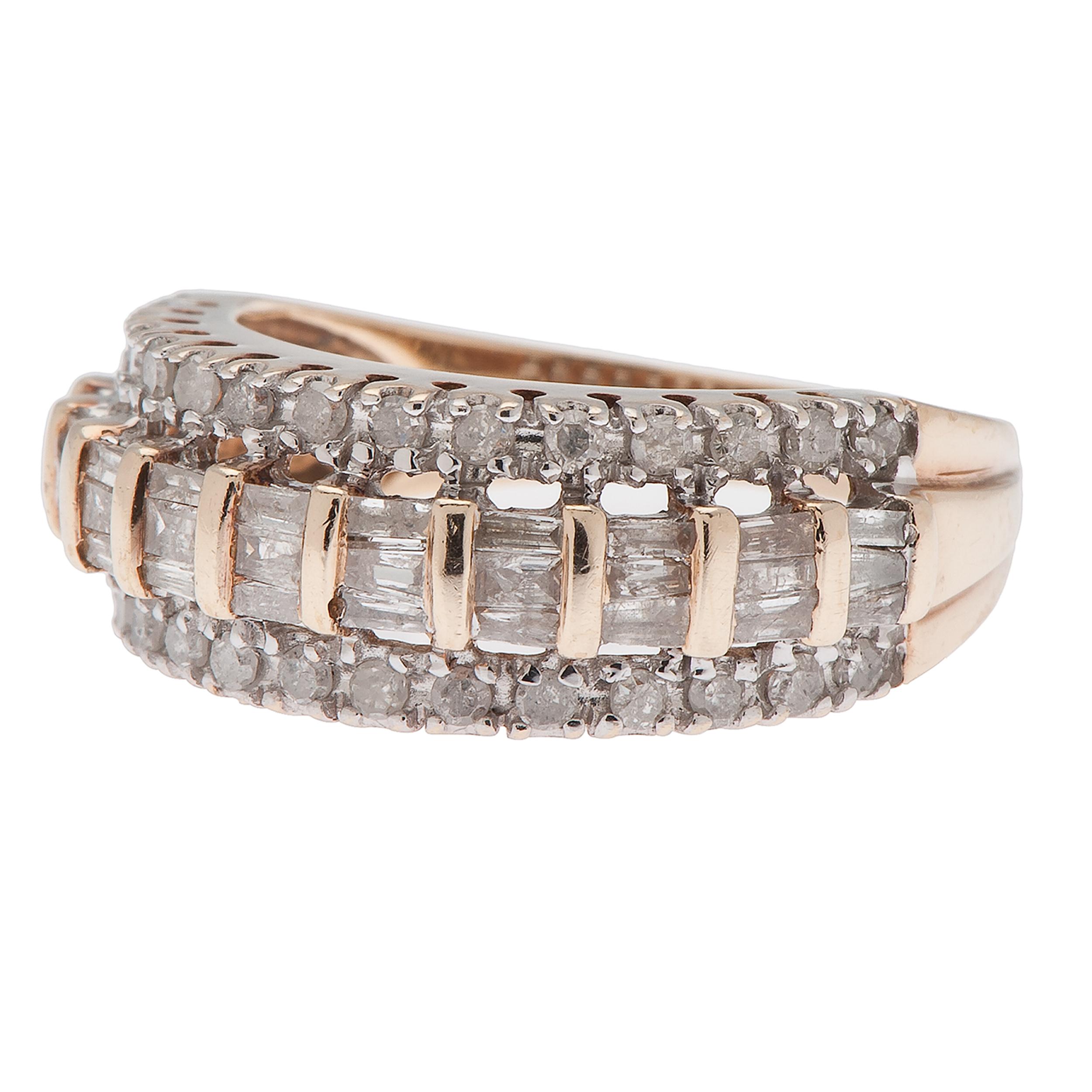 One Carat Total Weight Diamond Ring In 10 Karat Yellow