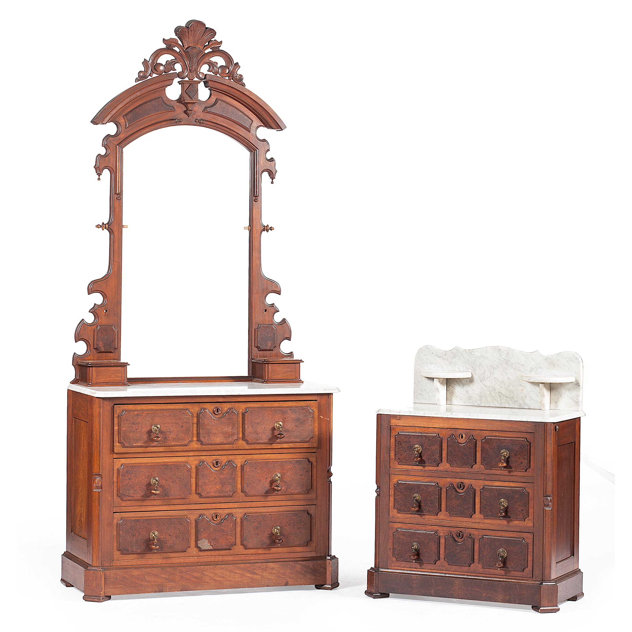 Art Nouveau Walnut 3 Piece Bedroom Suite: Victorian Walnut Bedroom Suite
