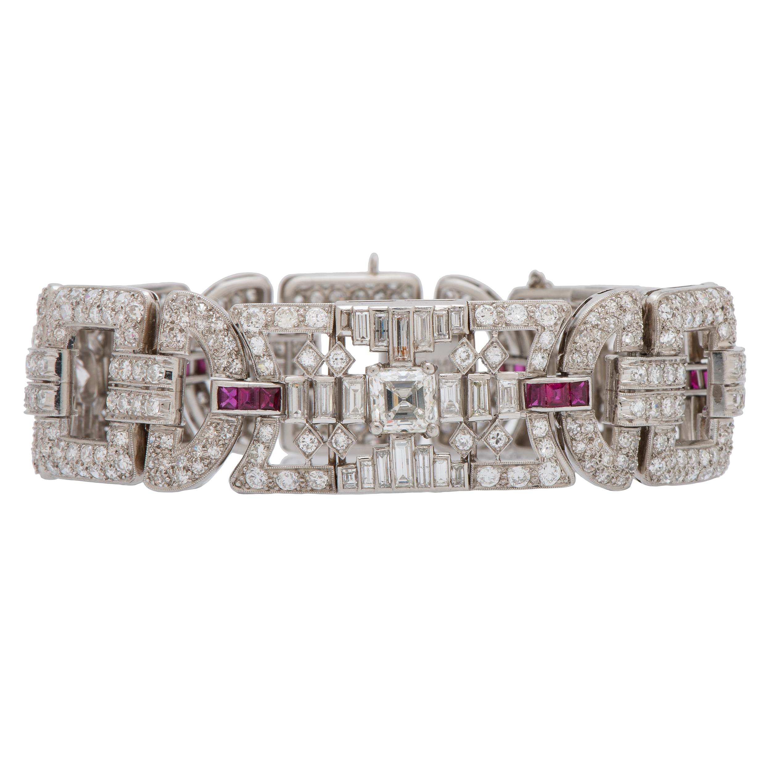 3f72d987000e1 Tiffany & Co. Art-Deco Diamond and Ruby Bracelet in Platinum Ca ...