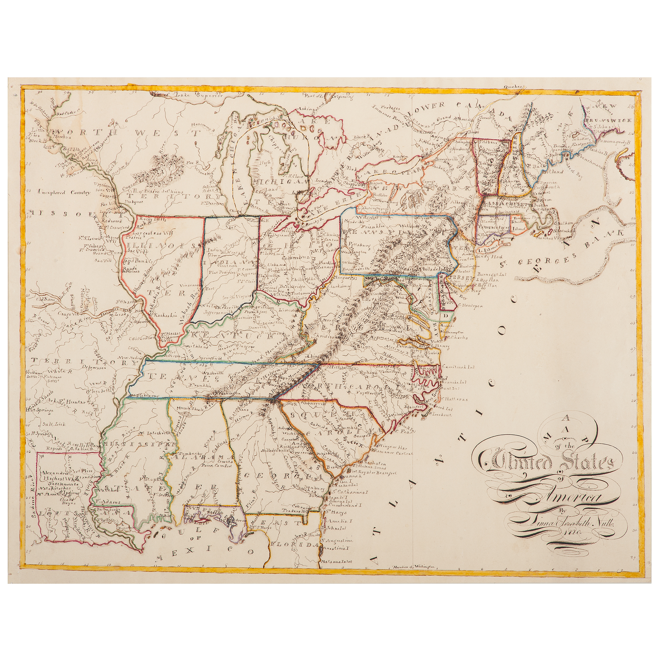 Folk Art United States Map by Linna Elizabeth Nutt, 1820 ... United States Map on united states land acquisitions, united states in 1790, united states territorial acquisitions, georgia map 1820, united states democratic party, united states acquisition of texas, illinois map 1820, united states 1853, europe map 1820, united states state abbreviations, united states maps usa, united states in order of statehood, united states expansionism, mexico map 1820, africa map 1820, united states in 1860, united states imperialism political cartoon, united states in 1880, united states territories and commonwealths, tennessee map 1820,