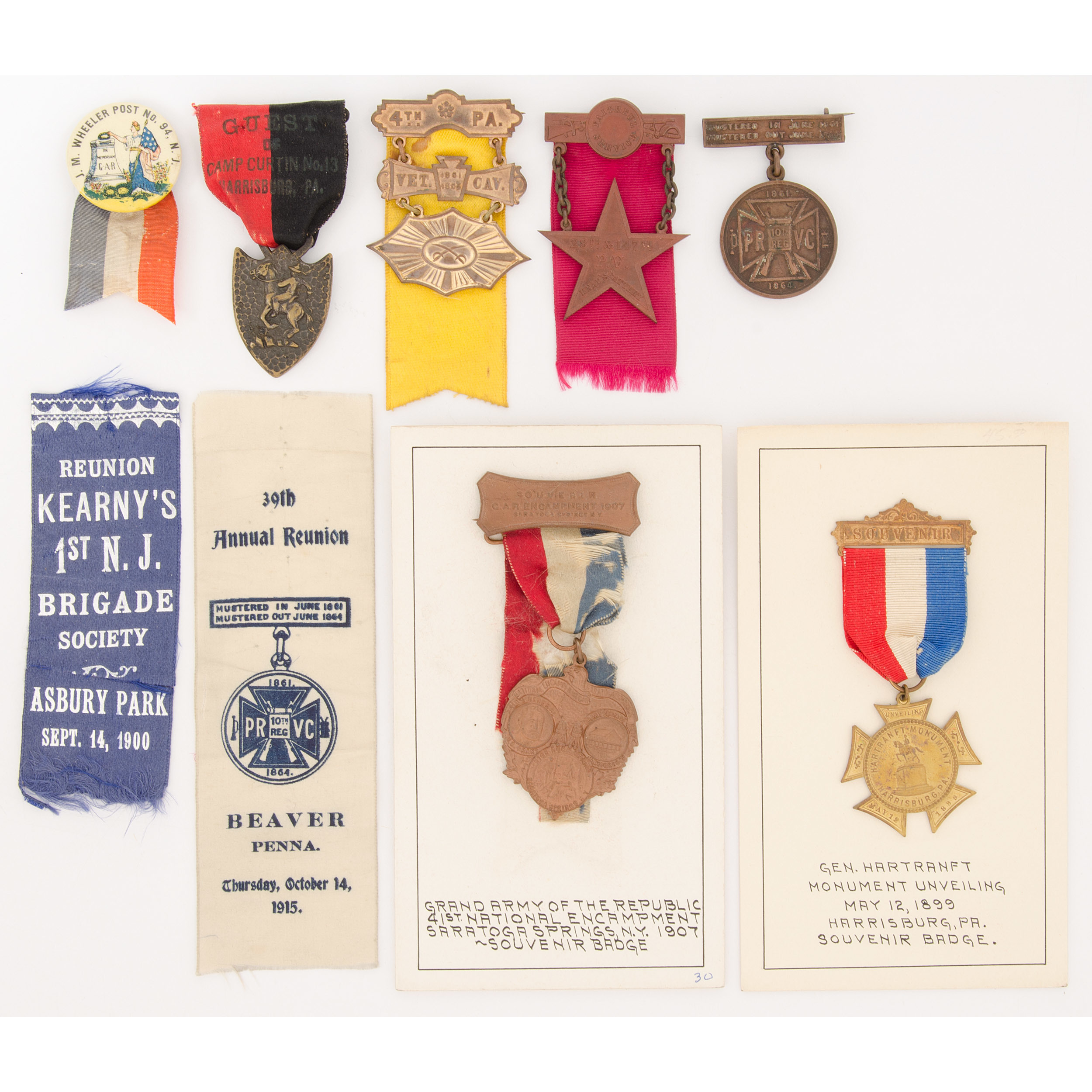 Collection of GAR and Souvenir Badges and Ribbons, 1885-1915