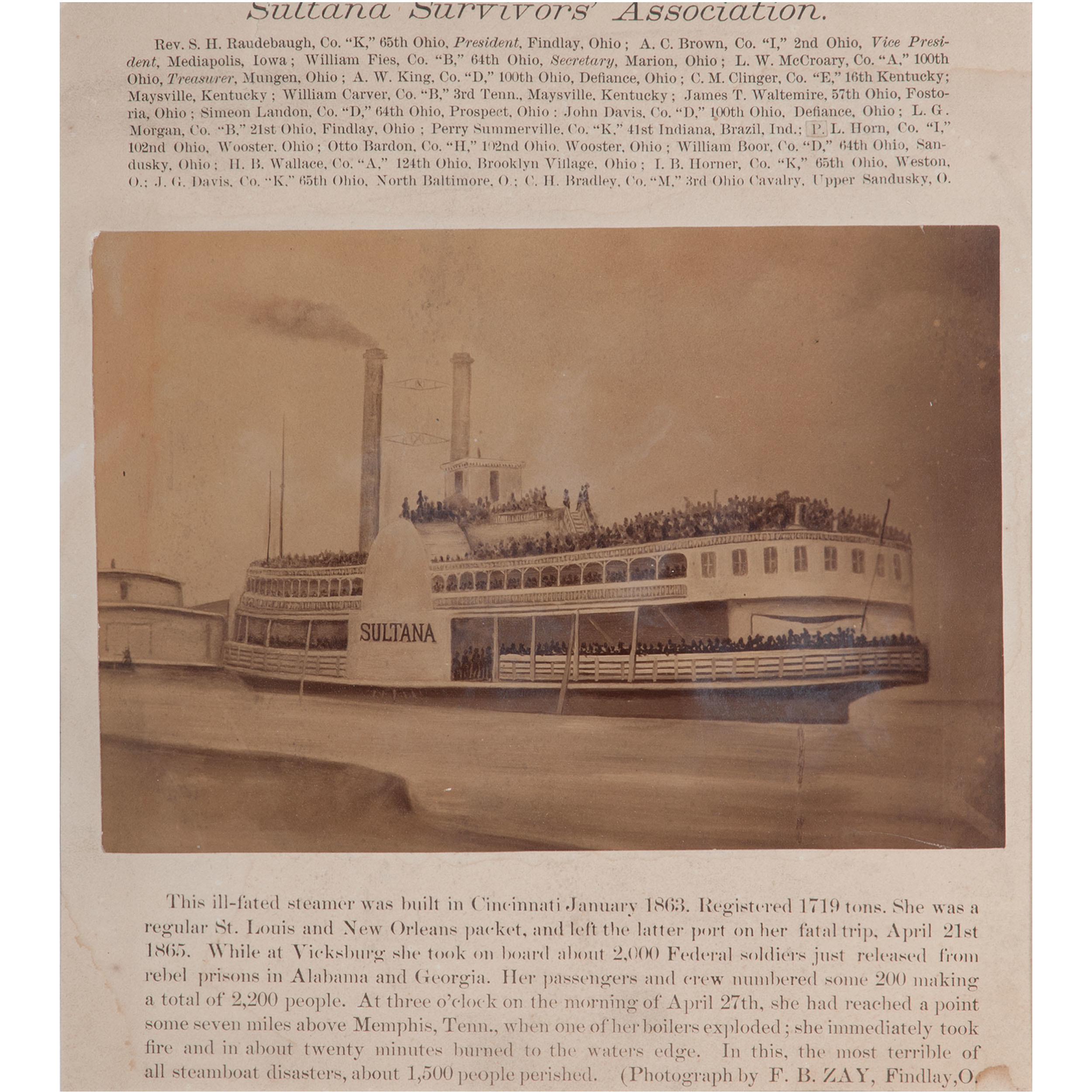 Albumen Print of the Ill-Fated Civil War Steamer Sultana | Cowan's