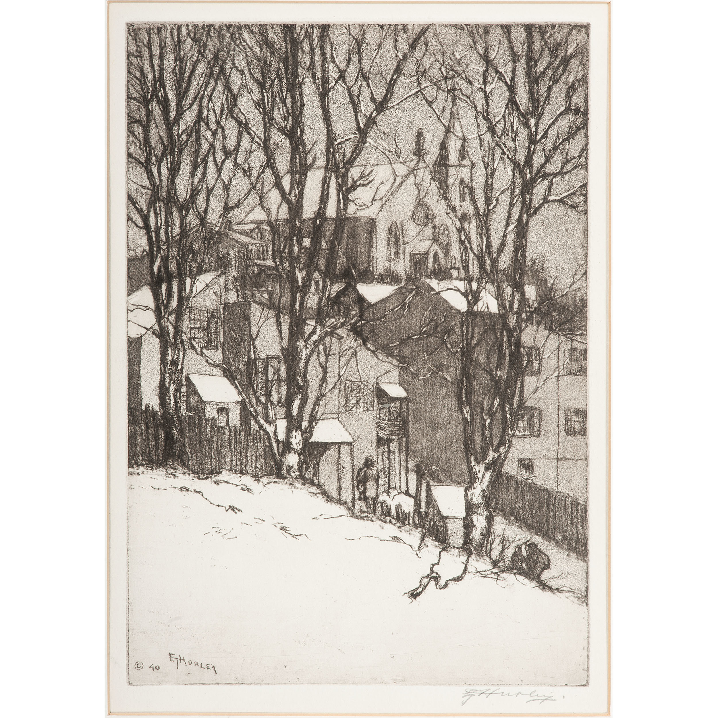 Edward Timothy Hurley Cincinnati 1869 1950 Etching Cowan S