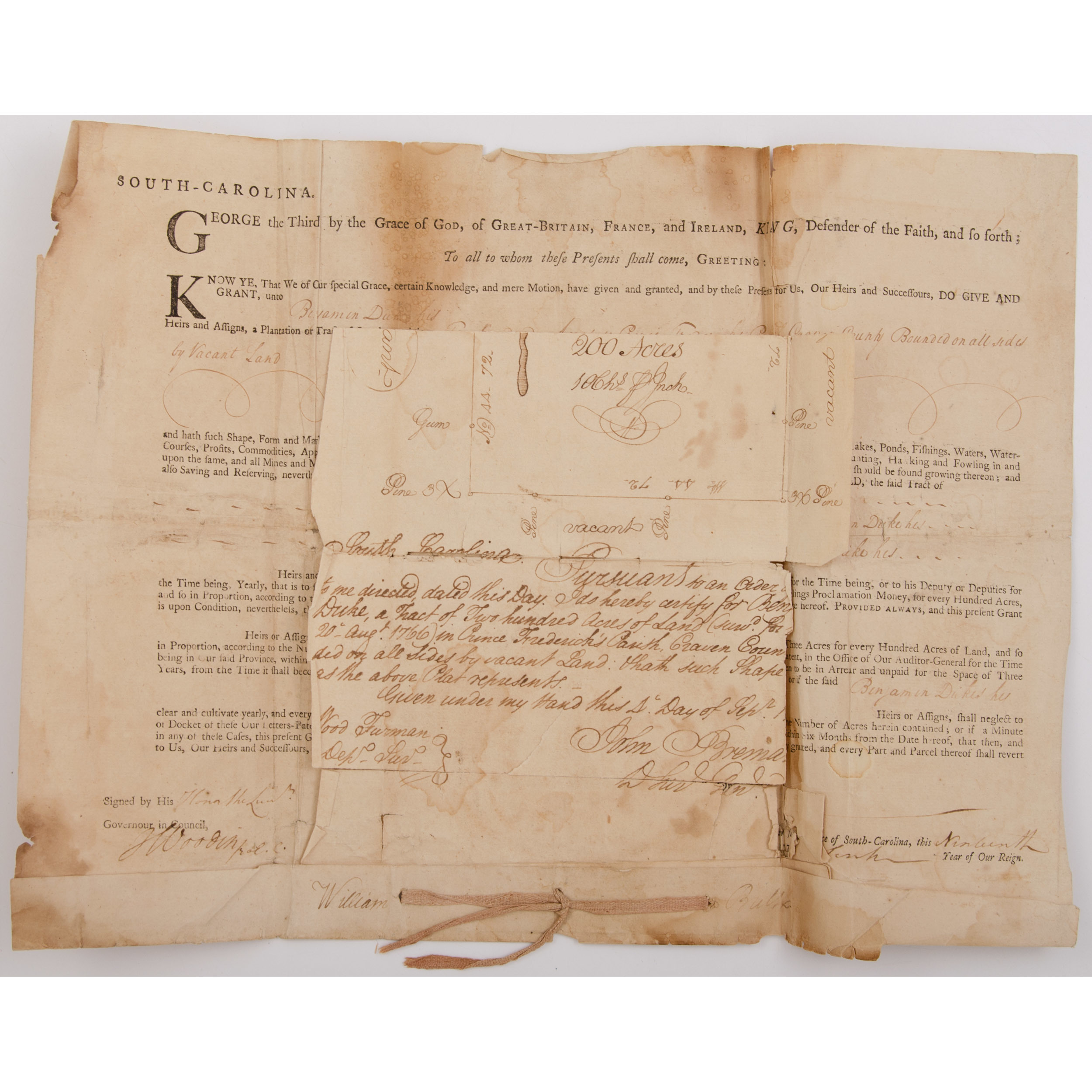 Colonial Land Grant to Benjamin Duke, Signed by SC Governor