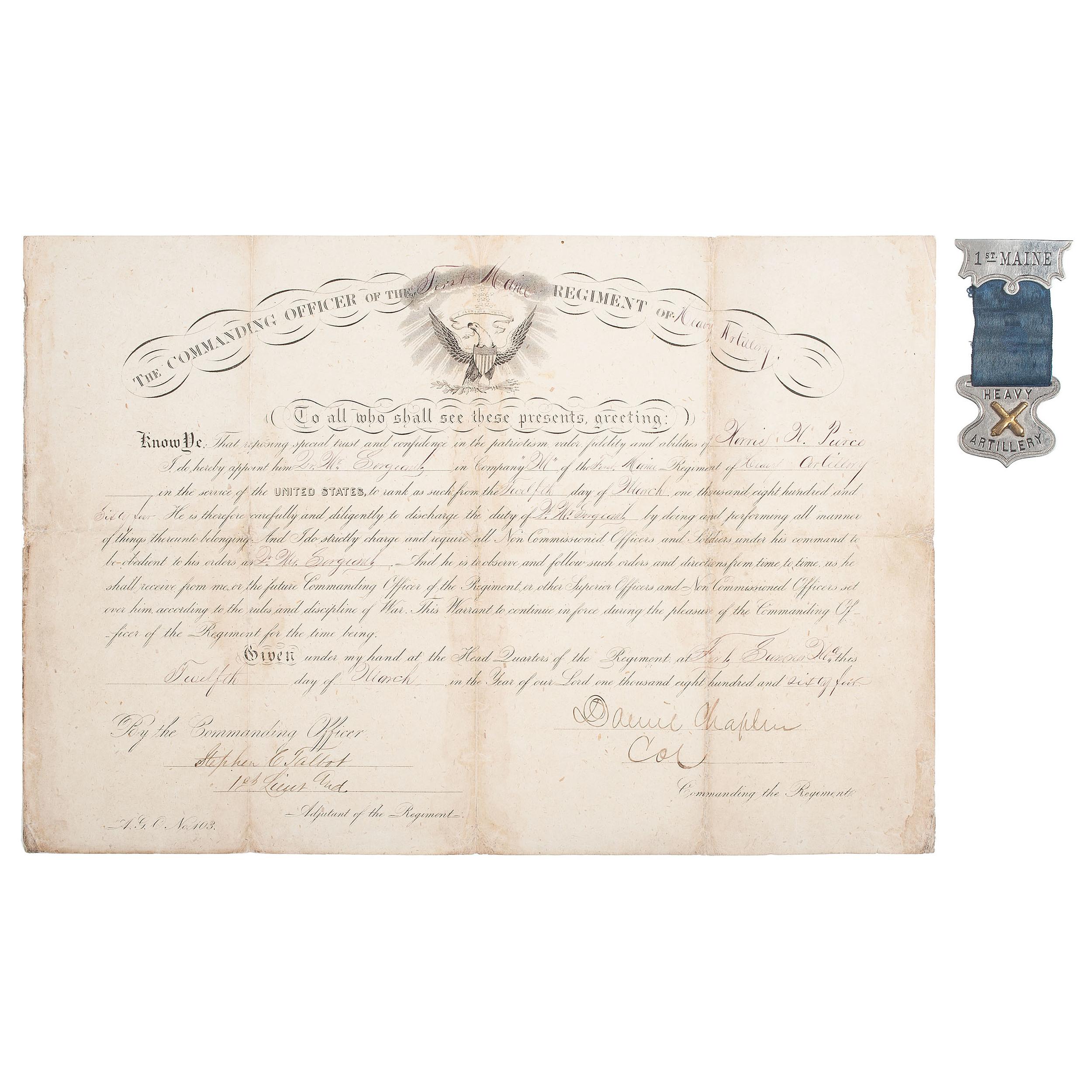 1st Maine Heavy Artillery Appointment, 1864, Plus | Cowan's
