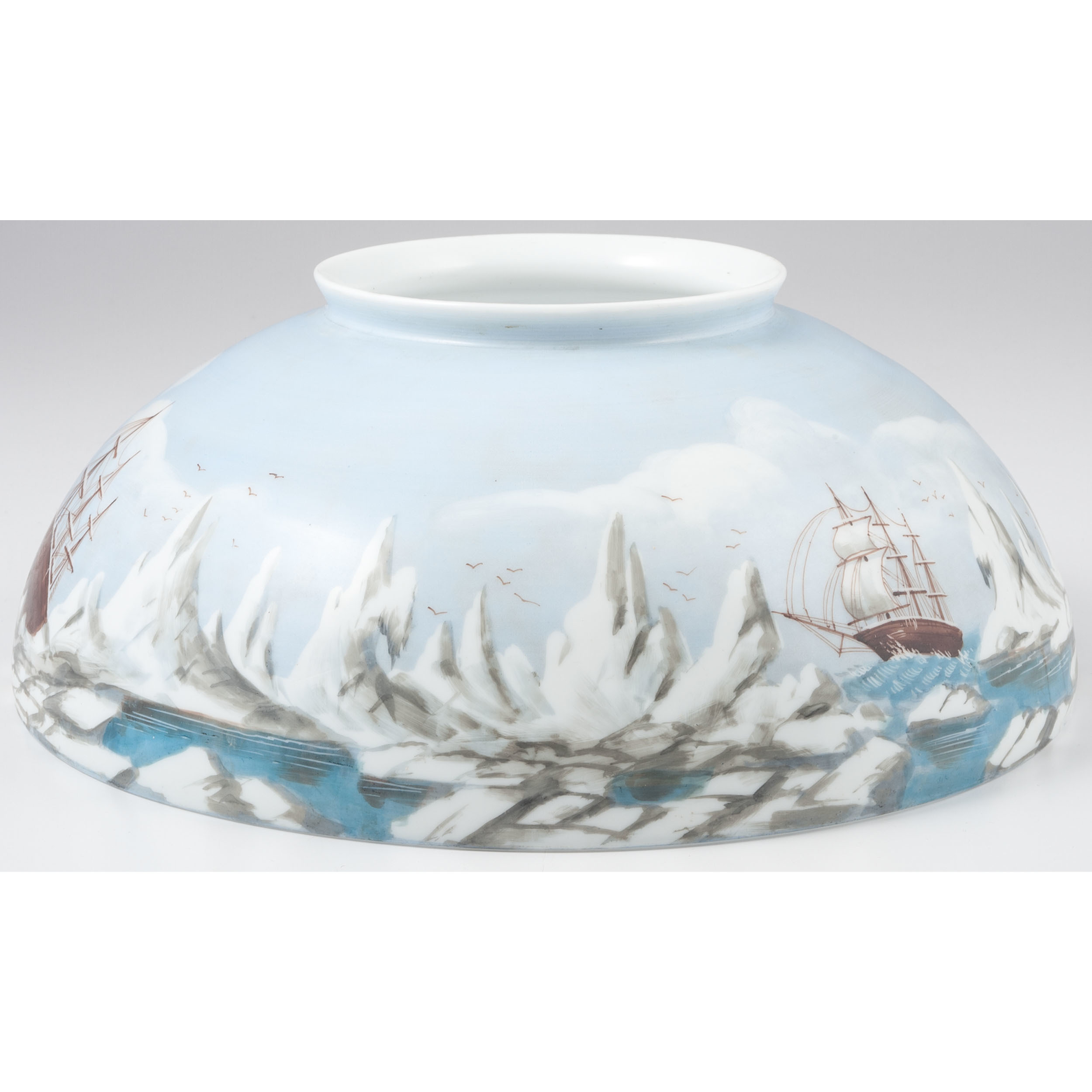 Hand Painted Lamp Shades: Hand-Painted Lamp Shade Of An Arctic Expedition, Ca 1870s