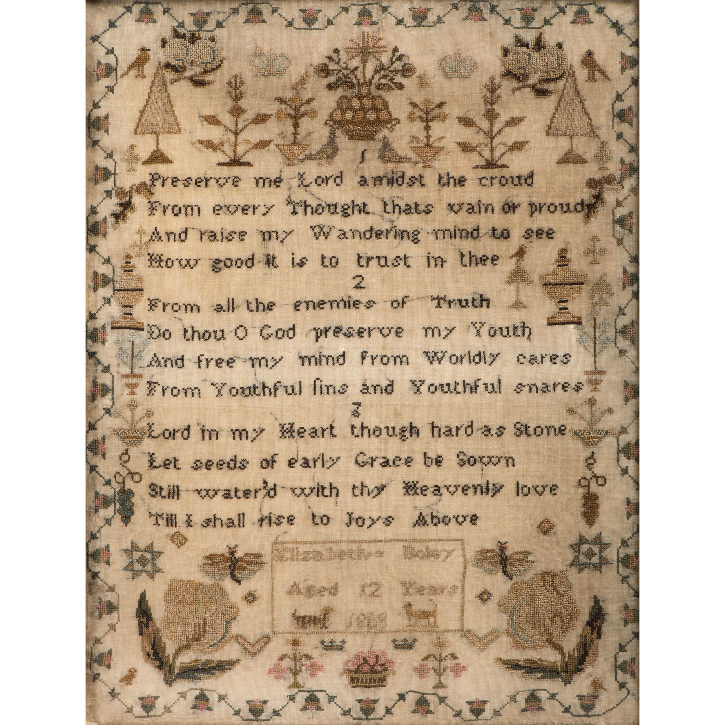 English Sampler by Elizabeth Boley, Dated 1808 | Cowan's
