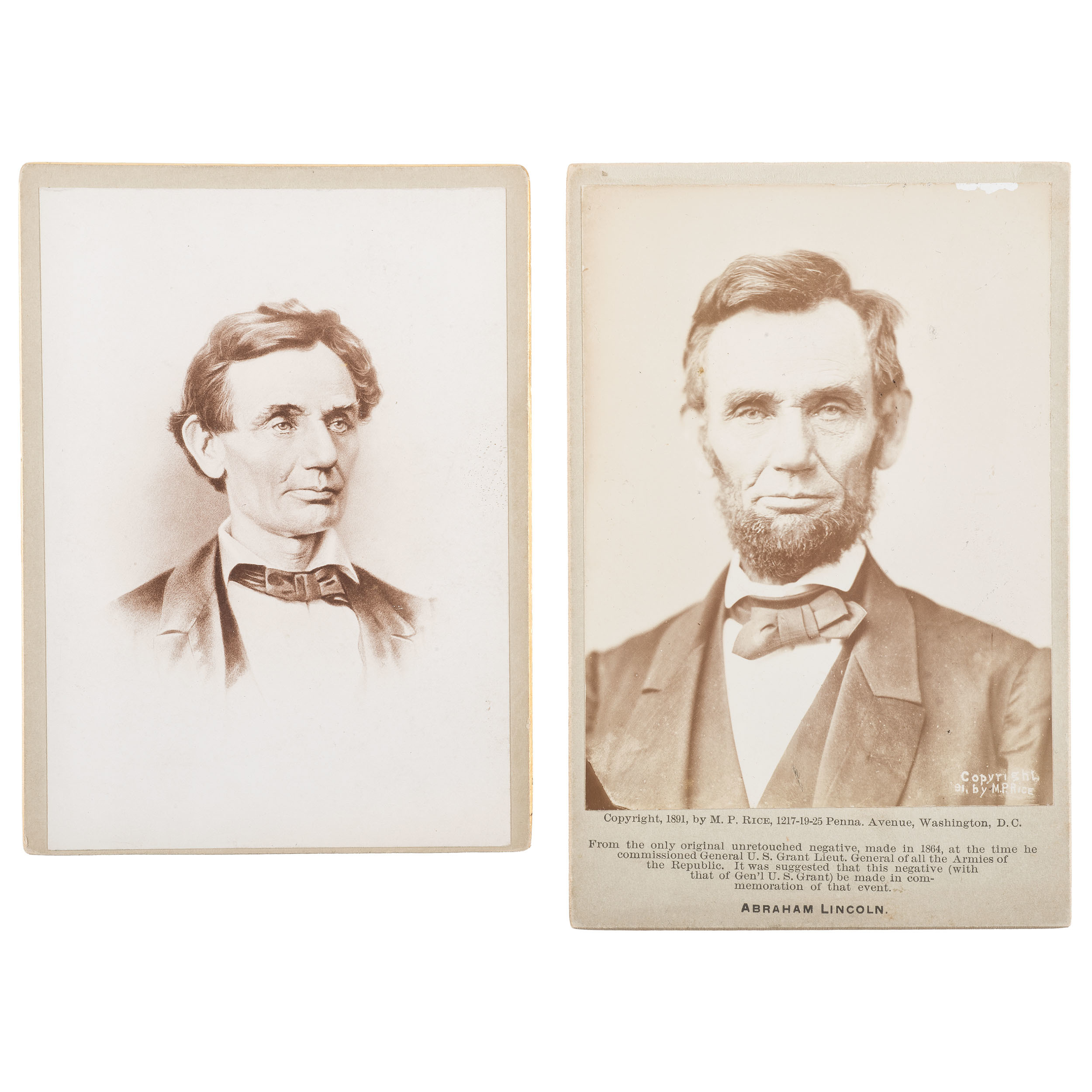Abraham Lincoln Pair Of Cabinet Cards Featuring Portrait By Moses P Rice Cowan S Auction House The Midwest S Most Trusted Auction House Antiques Fine Art Art Appraisals