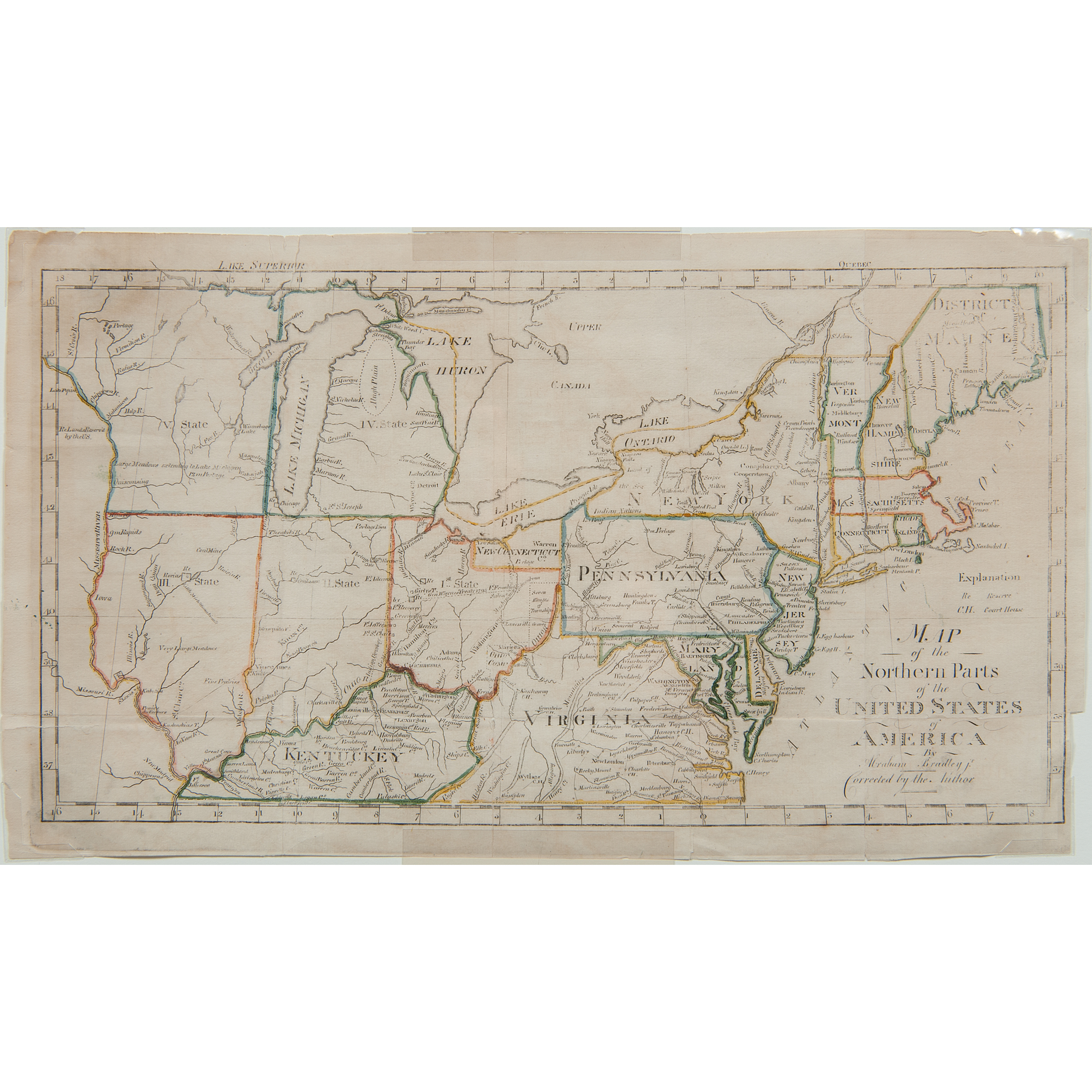 Abraham Bradley Jr. Map of the Northern Parts of the United ...