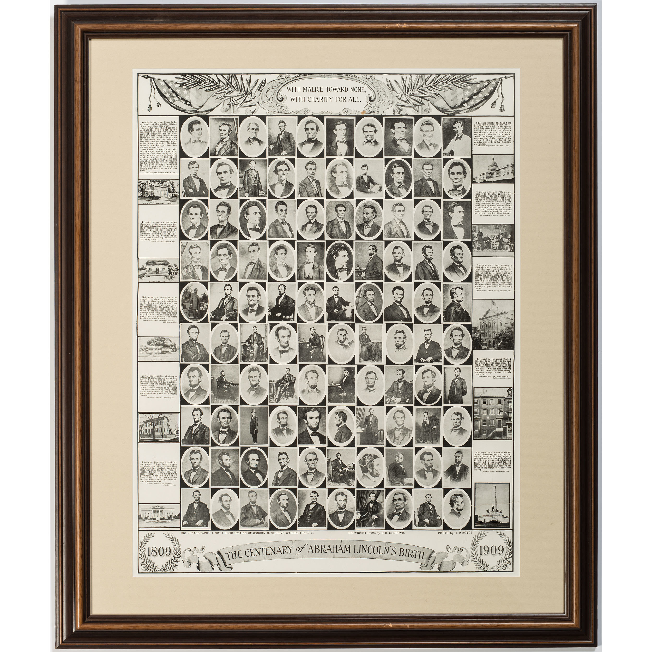 Centenary Lincoln Poster Featuring One Hundred Portraits of ...