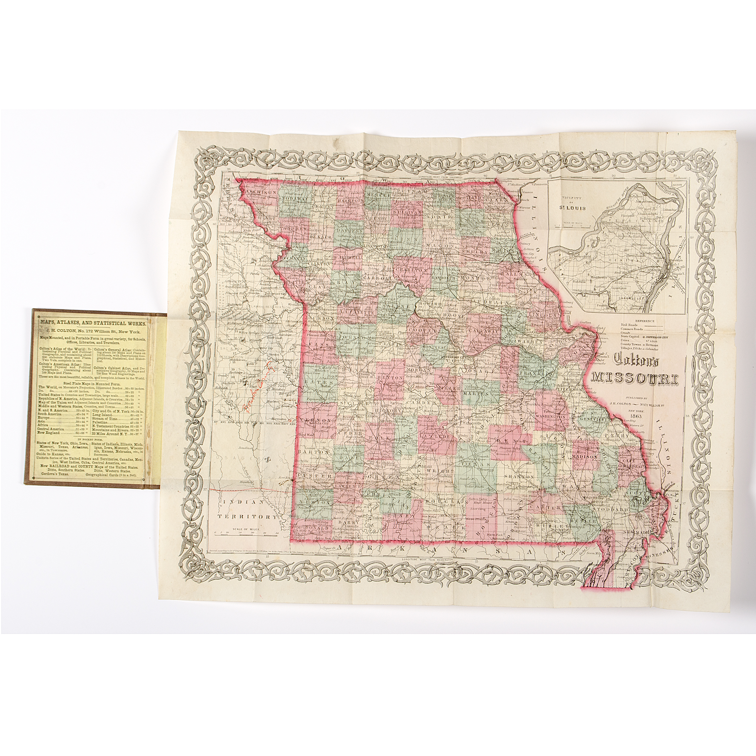 Colton\'s Map of Missouri, 1863 Pocketmap | Cowan\'s Auction ...