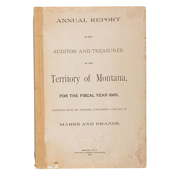 Territory of Montana Marks and Brands for 1886, | Cowan's Auction