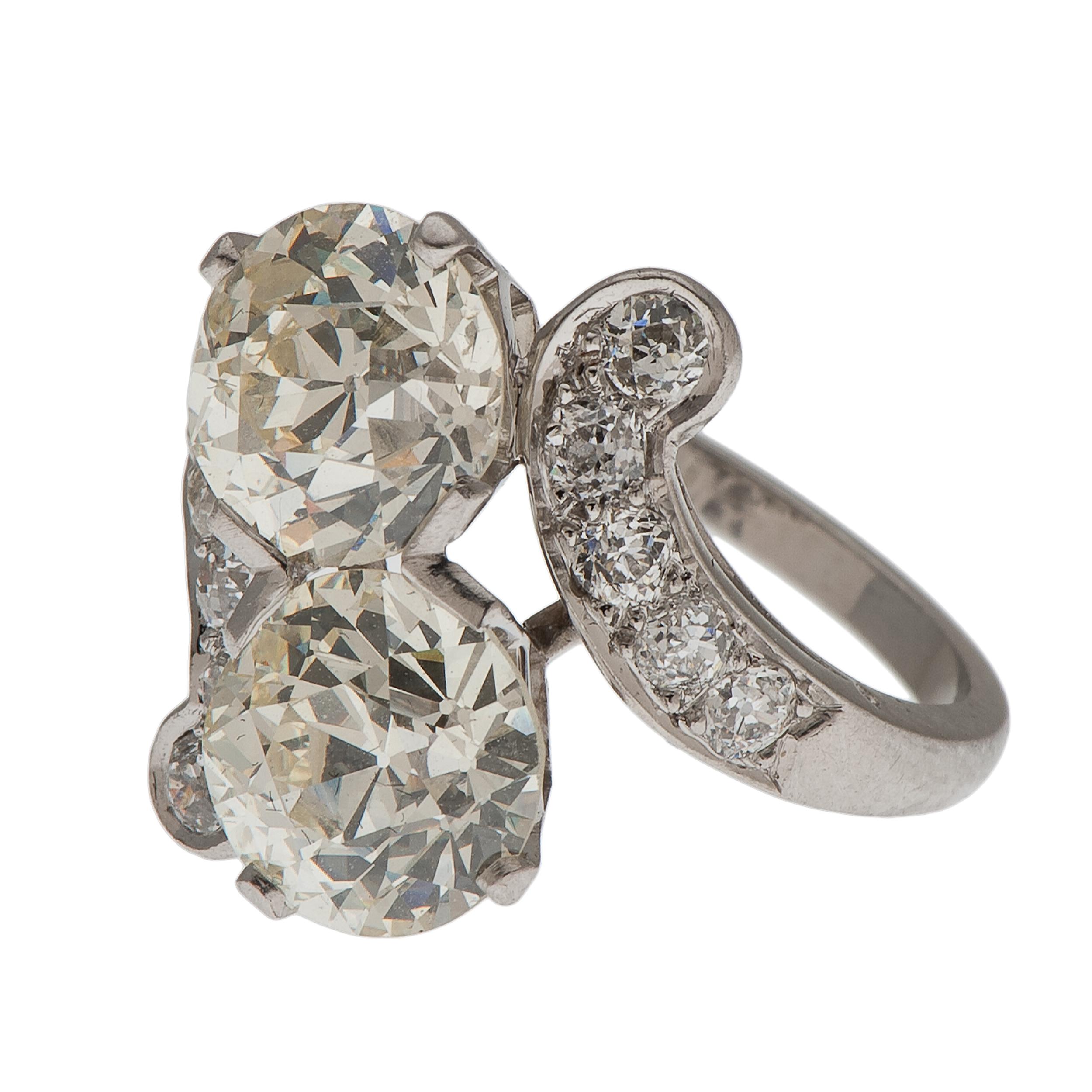 Six Carat Total Weight Diamond Ring In Platinum Ca 1930