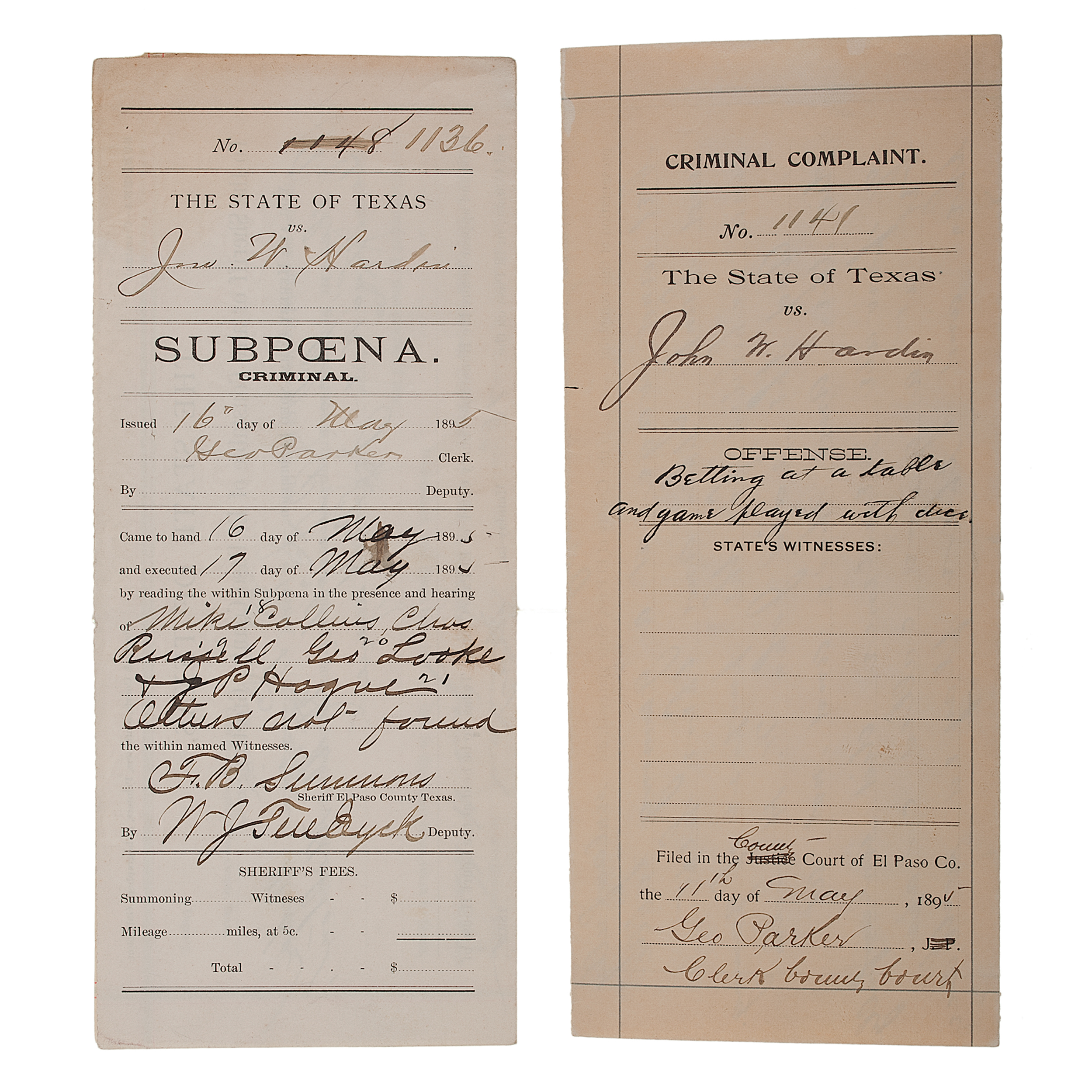 Criminal Complaint and Subpoena Issued to John Wesley Hardin for