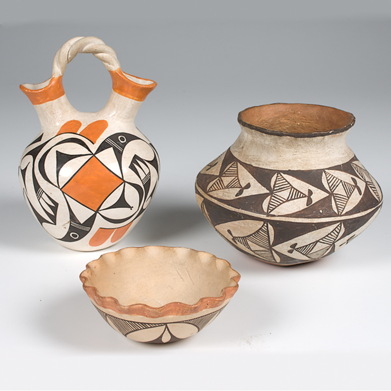 Eva Histia Acoma Wedding Vase Plus Other Acoma Pottery Cowans