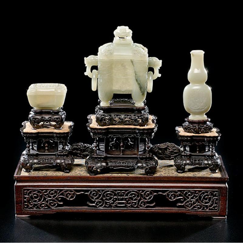 Finely Carved and Rare Pale Celadon Jade Altar Set