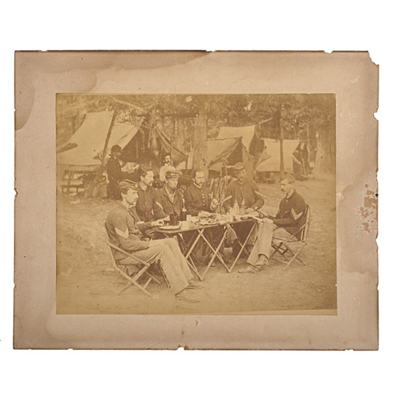 NCO Staff Camp Scene of Co. D, 93rd New York Volunteers, Civil War Albumen Photograph