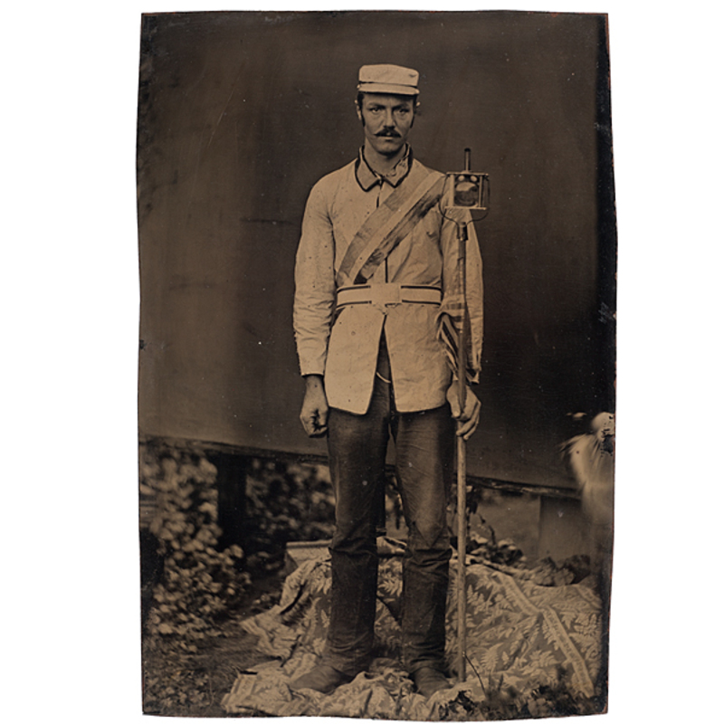 Harrison Parade Marcher with Ballot Box Torch, Half Plate Tintype