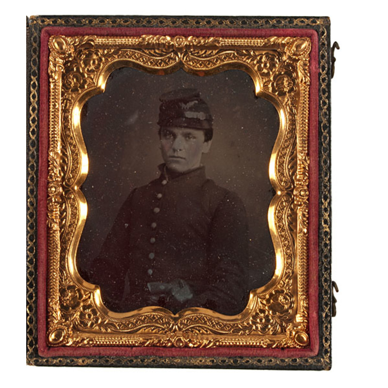 Sixth Plate Ruby Ambrotype of Union Pvt. with Rare Lemat Revolver