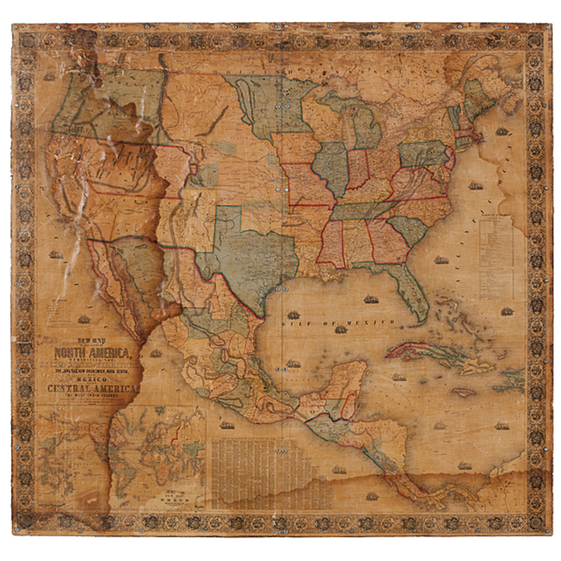 1853 Monk Wall Map of the United States