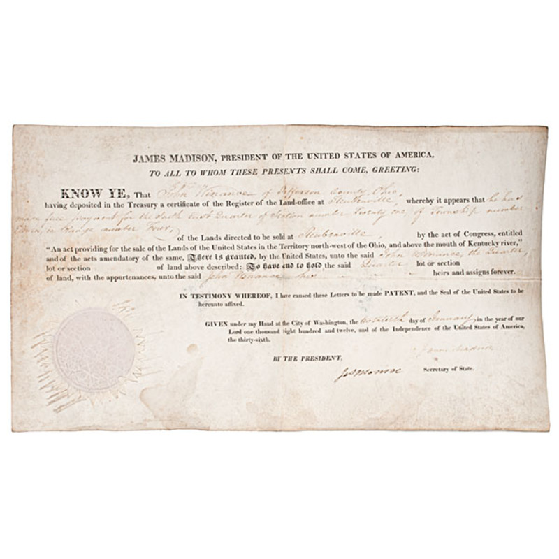 James Madison & James Monroe Signed Land Grant