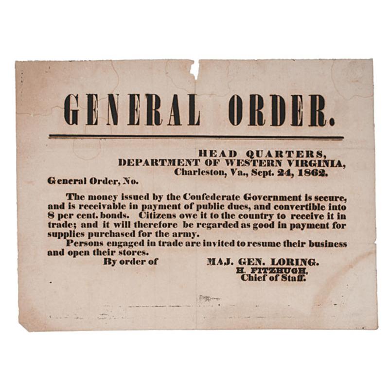 Confederate Currency Broadside, Charleston, Virginia, 1862